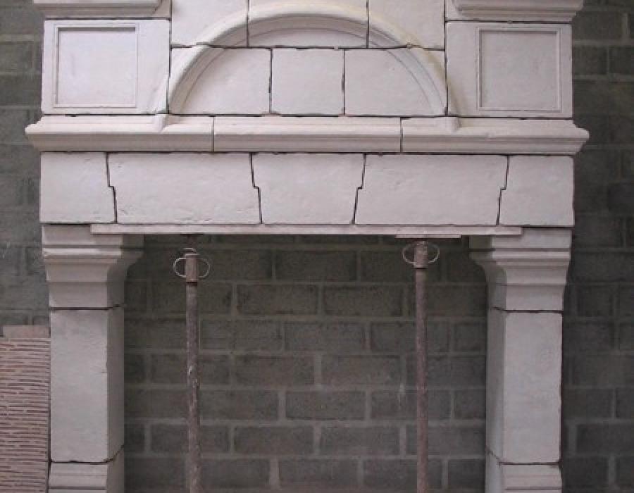 cheminée en copie à trumeau de style Gothique - réf 100 - en pierre de Richemont Bleu