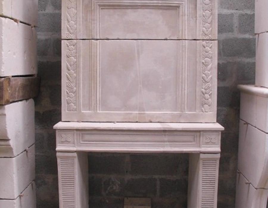 cheminée Empire-Directoire ancienne à trumeau - réf 167 - pierre de Caen